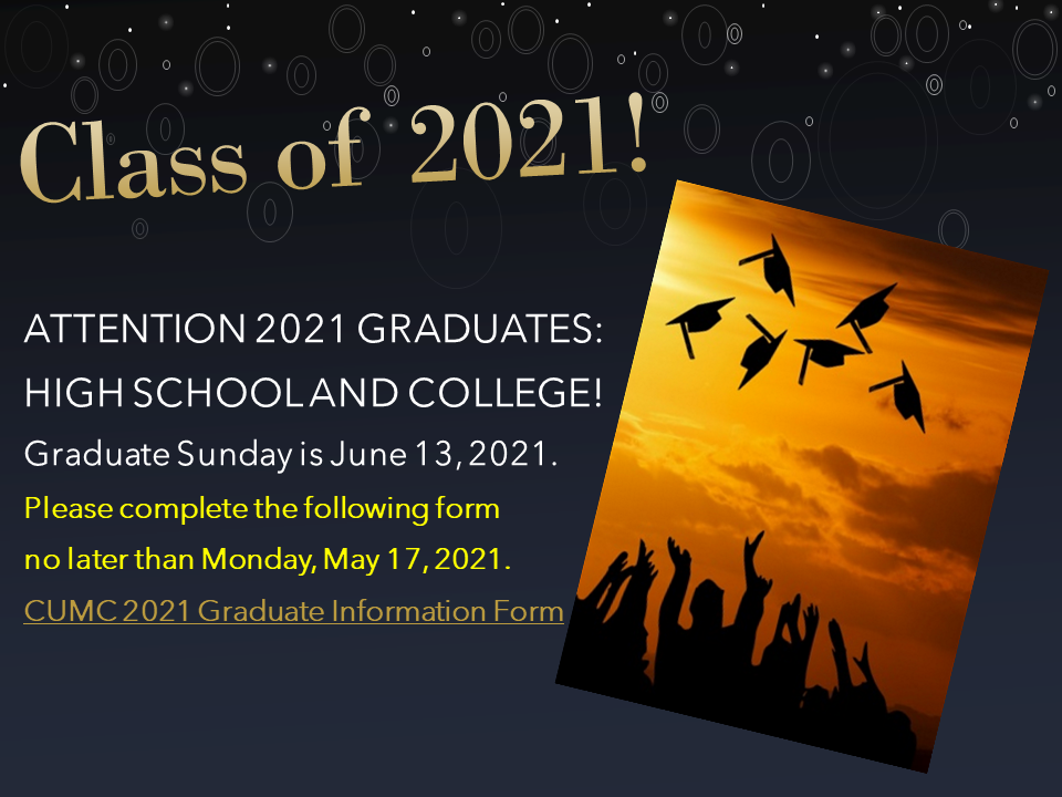CUMC Graduate Sunday 2021 Slider rev2