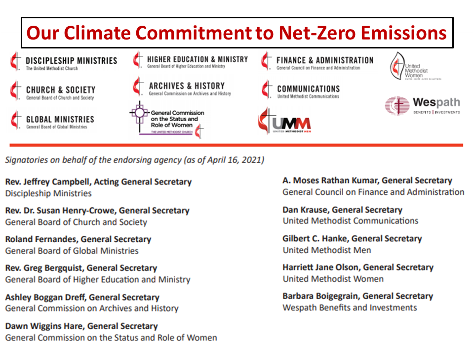 UMC Ministries Climate Change Commitment
